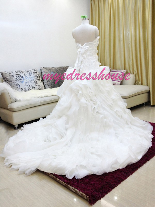 Myedresshouse Hauter Couture Luxury Princess Organza Ballgown Wedding Dress