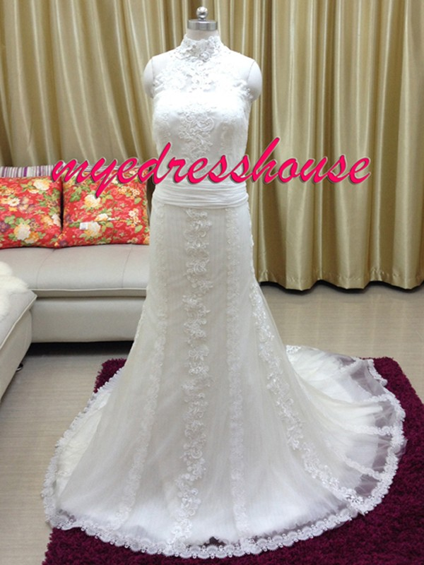 Myedresshouse Hauter Couture High Neck Fit-and-flare Wedding Dress