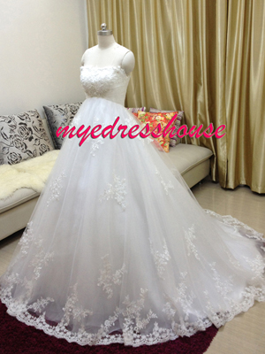 Myedresshouse Hauter Couture Elegant Lace Ballgown Maternity Wedding Dress