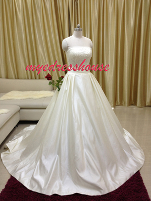 Myedresshouse Hauter Couture Pearl Satin A-line Wedding Dress