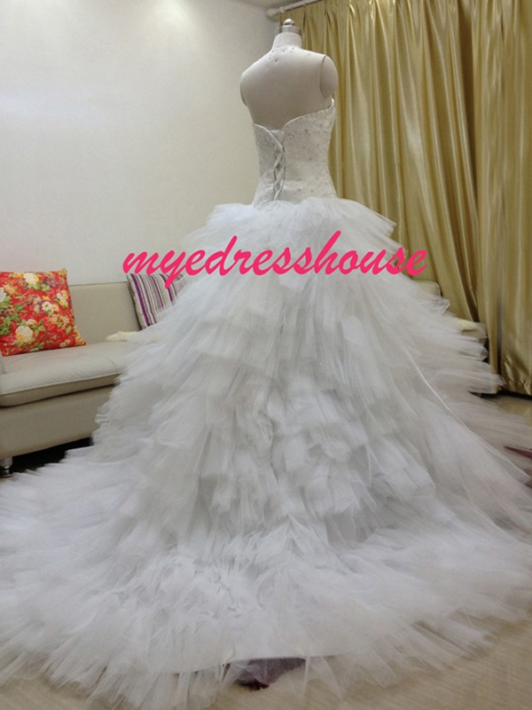 Myedresshouse Hauter Couture Full Beading Sweetheart Multi-Layered Ballgown Royal Wedding Dress