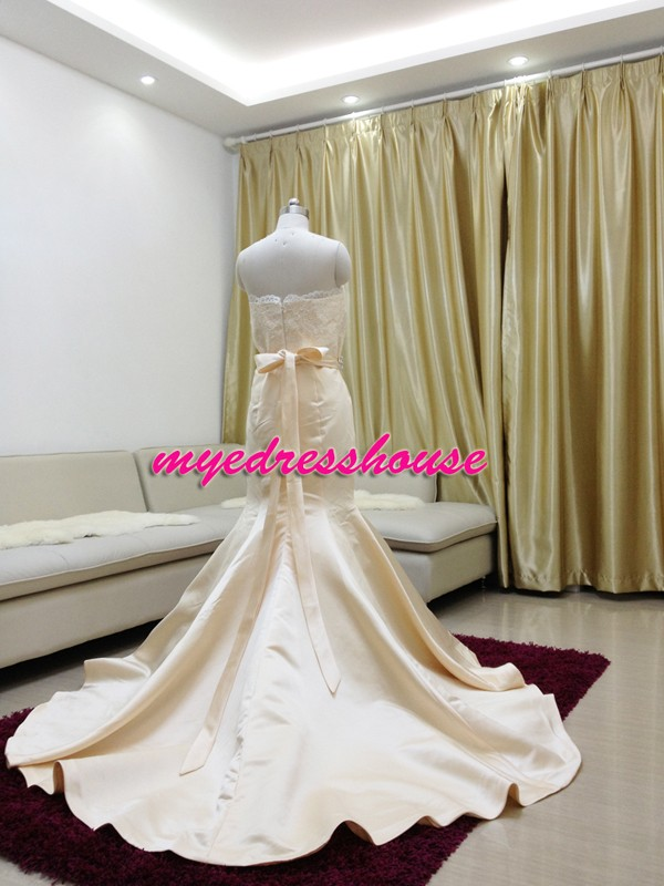 Myedresshouse Hauter Couture Satin Mermaid Wedding Dress