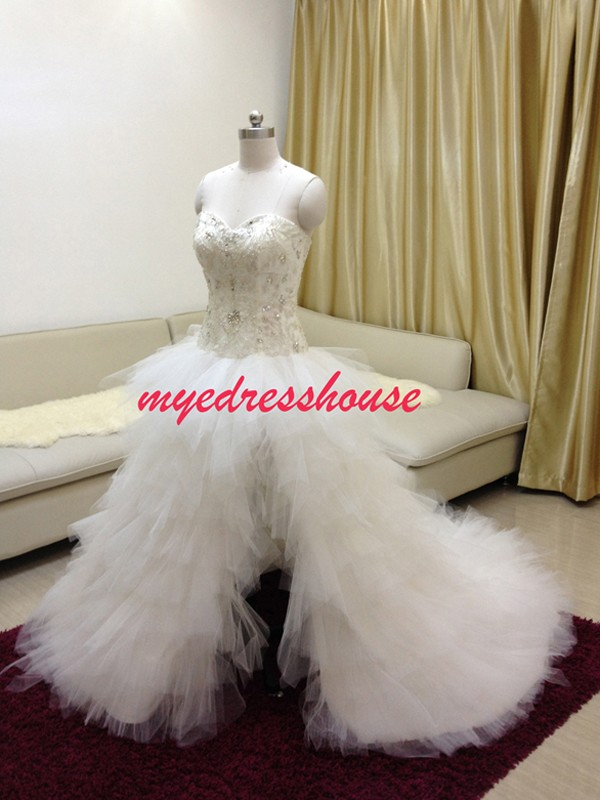 Myedresshouse Hauter Couture Crystal High Slit A-line Wedding Dress