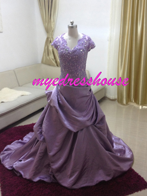 Myedresshouse Hauter Couture Purple Satin Packing-up Prom Dress