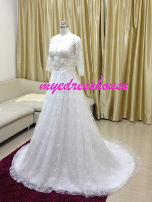 Myedresshouse Hauter Couture Lace Half Sleeves A-line Wedding Dress