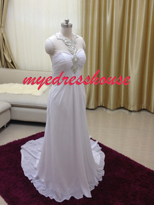 Myedresshouse Hauter Couture Crystal Halter Chiffon Wedding Dress