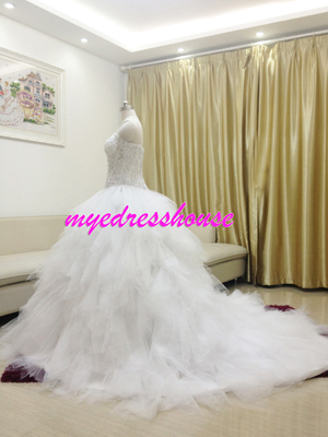 Myedresshouse Hauter Couture Sweetheart Full Beading Royal Princess Wedding Dress