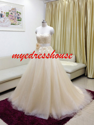 Myedresshouse Hauter Couture Champagne Soft Tulle Wedding Dress