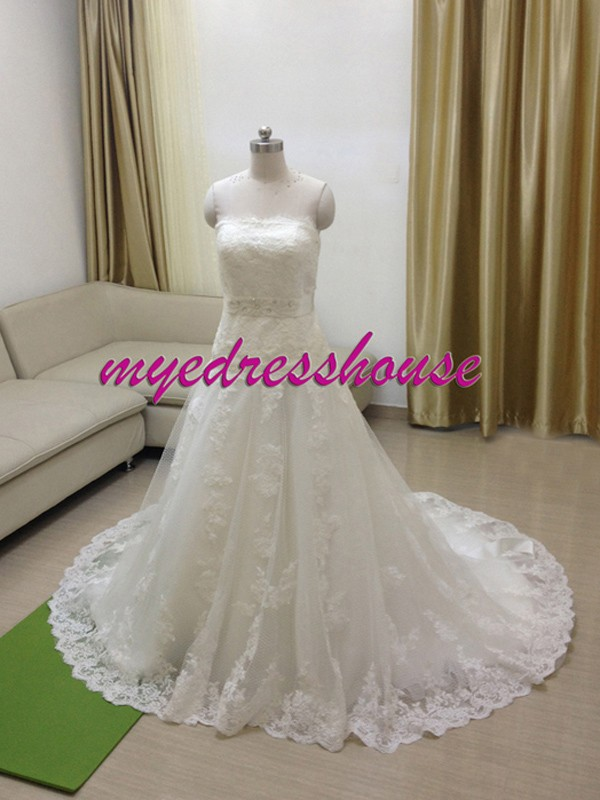 Myedresshouse Hauter Couture French Lace Princess A-line Wedding Dress