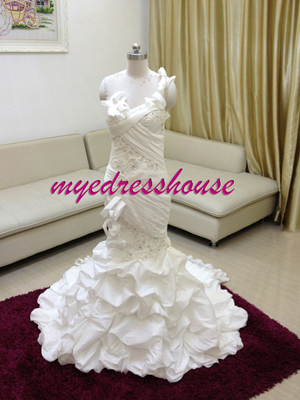 Myedresshouse Hauter Couture One Shoulder Mermaid Wedding Dress