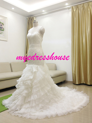Myedresshouse Hauter Couture Sweetheart Lace Mermaid Wedding Dress