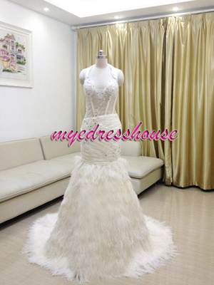 Myedresshouse Hauter Couture Halter Straps Nature Feather Mermaid Wedding Dress