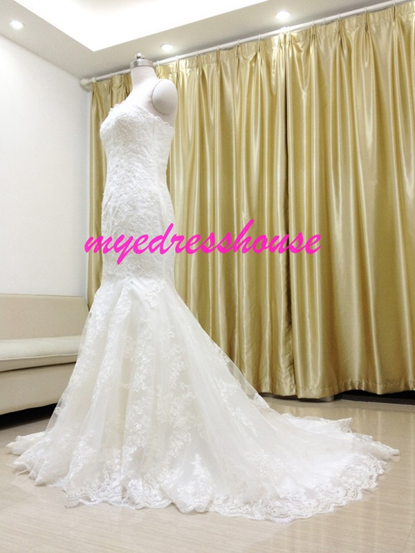 Myedresshouse Hauter Couture Strapless Lace Mermaid Wedding Dress