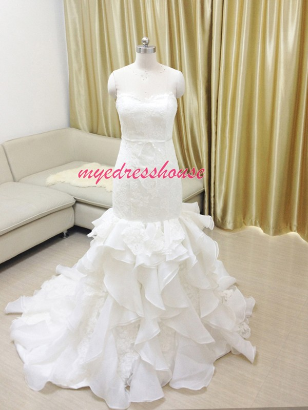 Myedresshouse Hauter Couture Lace With Ruffled Organza Mermaid Wedding Dress