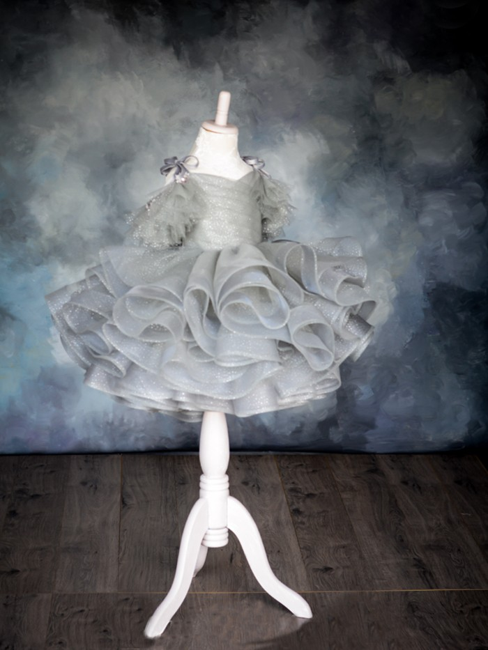 Silver Gleam Inspired By AnnaTriant Couture Luxury Childern Couture Dress
