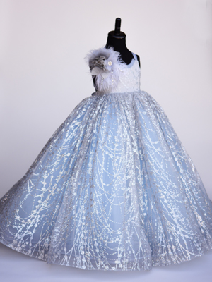 Shimmer Ice Blue Inspired By AnnaTriant Couture Luxury Childern Couture Dress
