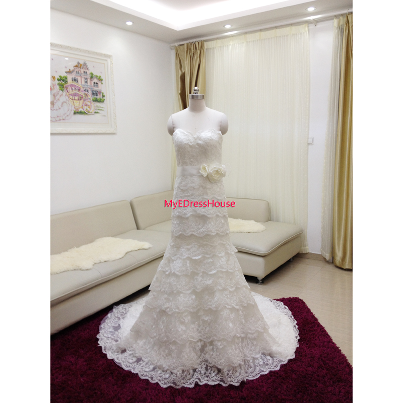 7940 Myedresshouse Haute Couture Sweetheart Neck Lace  Bridal Dress